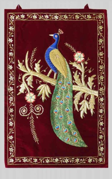 MAROON HAND EMBROIDERED PEACOCK INDIAN WALL TAPESTRY MANUFACTURER