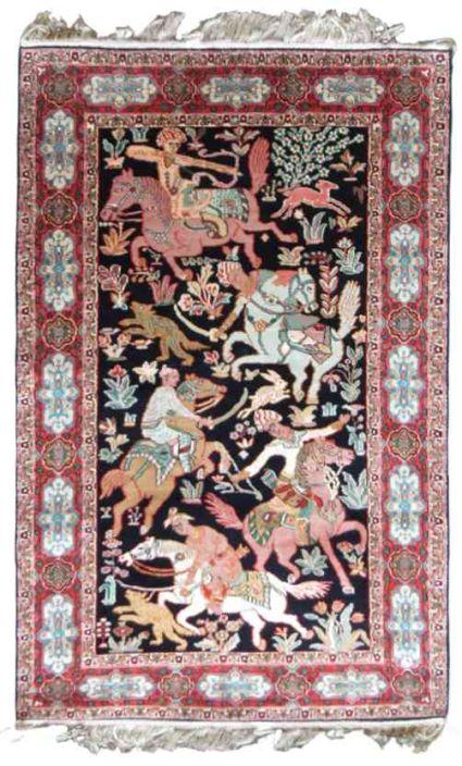 PURE SILK CARPET KASHMIR ARCHERY DESIGN FROM INDIA