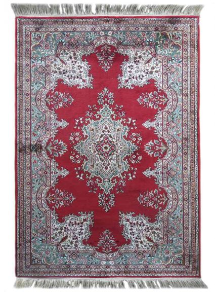 RED PERSIAN DESIGN HANDMADE SILK RUG FROM INDIA