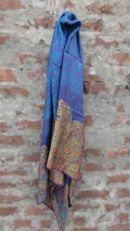 SELF DESIGN BLUE FASHION SCARVES FOR WOMEN FROM INDIA
