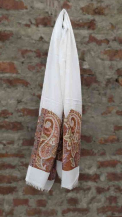 SELF DESIGN WHITE FASHION SCARVES FOR WOMEN FROM INDIA