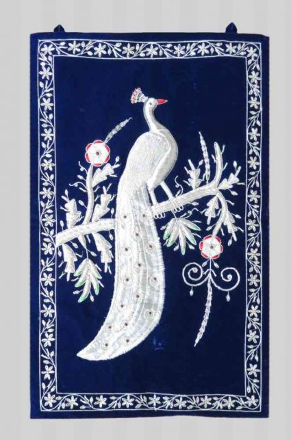 SILVER HAND EMBROIDERED PEACOCK INDIAN WALL TAPESTRY MANUFACTURER