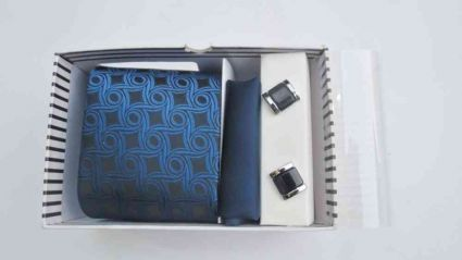 TIE, CUFFLINKS & POCKET SQUARE BLUE SET FROM INDIA