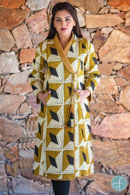 Bagru Mustard Block Printed Quilted Bukhara Coat-NVQJ264