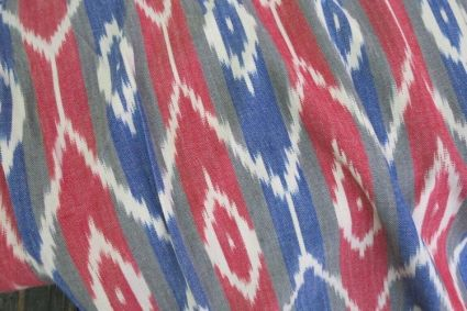 TRICOLOR STRIPED IKAT PRINT FABRIC BY THE YARD-HF368