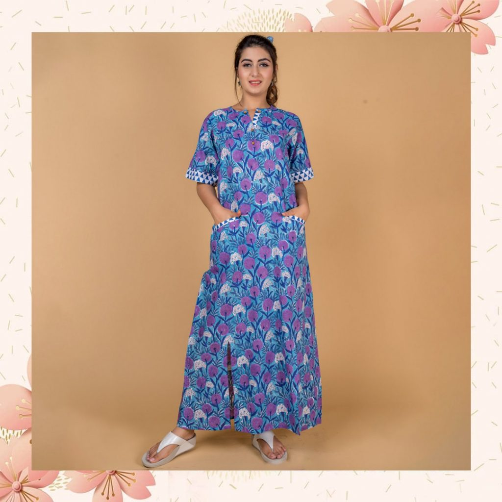 block printed nightgowns